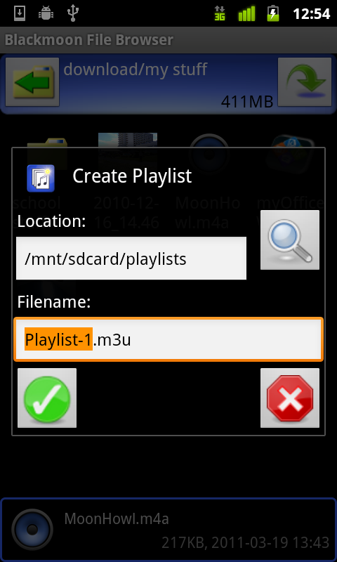 create playlists from selected music files